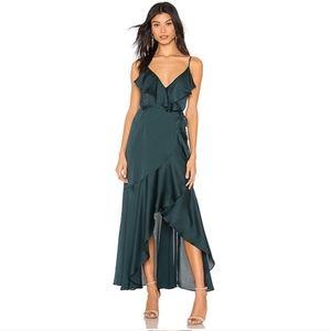 Shona Joy | Luxe Bias Frill Wrap Dress Emerald 4